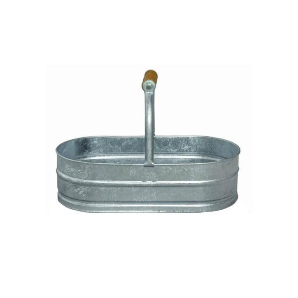 Pojemnik metalowy z drewnianym uchwytem, 4 l