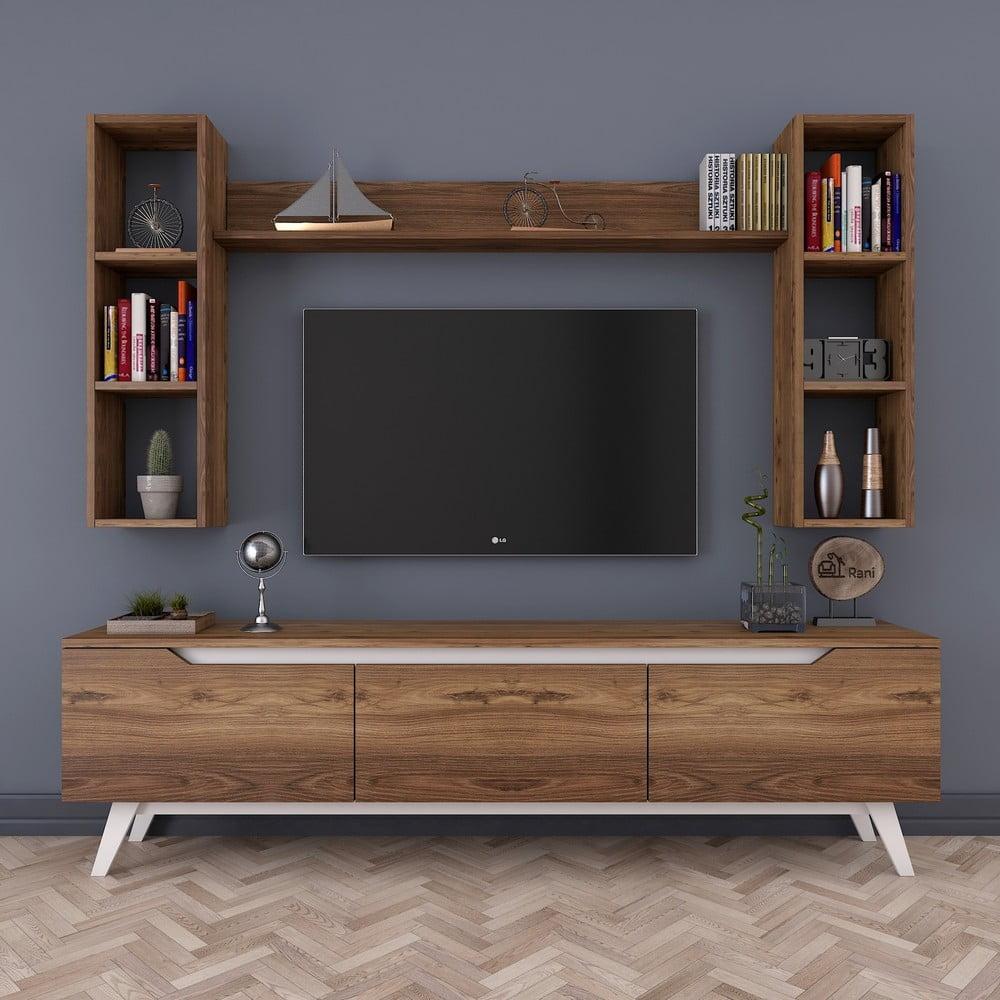 Zestaw szafki pod TV i 3 półek w dekorze drewna Wren
