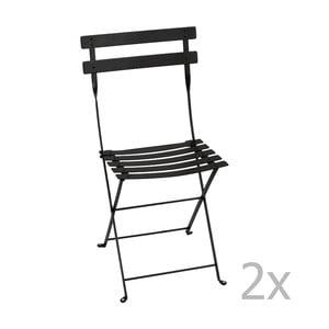 Zestaw 2 czarnych krzeseł składanych Fermob Bistro