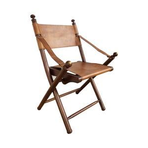 Składane krzesło skórzane z konstrukcją z drewna tekowego Orchidea Milano Safari