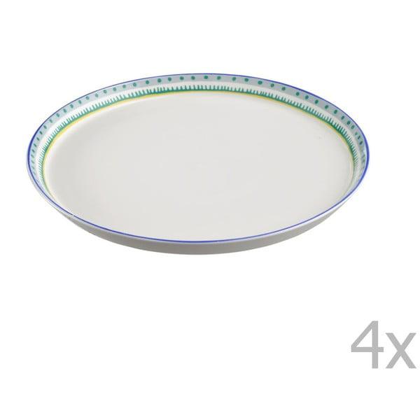 Komplet 4 talerzy porcelanowych na pizzę Oilily 31 cm, zielony
