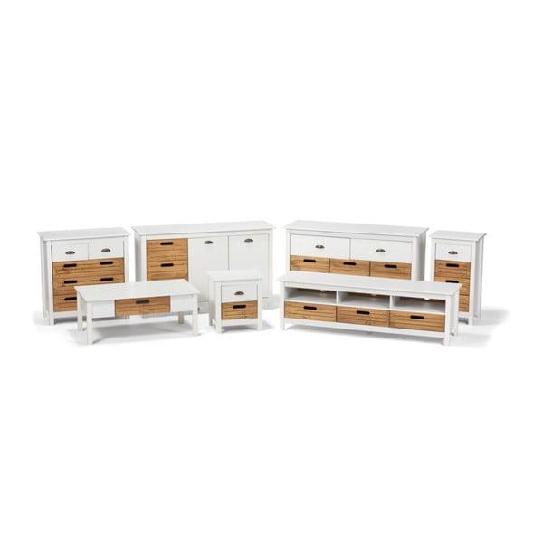 Biała szafka nocna z drewna sosnowego z 2 szufladami loomi.design Ibiza