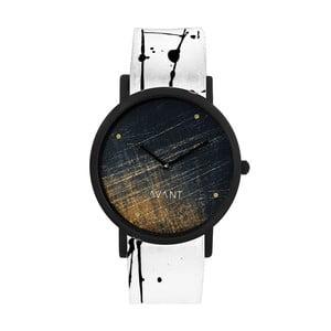 Zegarek unisex z biało-czarnym paskiem South Lane Stockholm Avant Noir