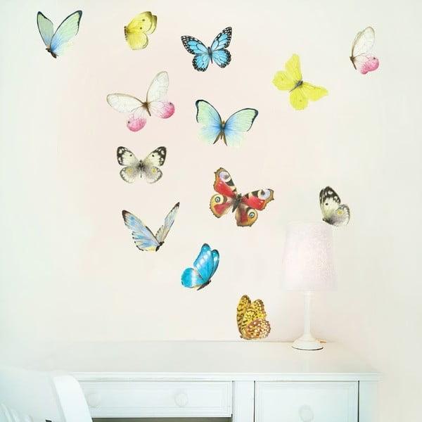 Naklejka wielokrotnego użytku Watercolor Butterflies M