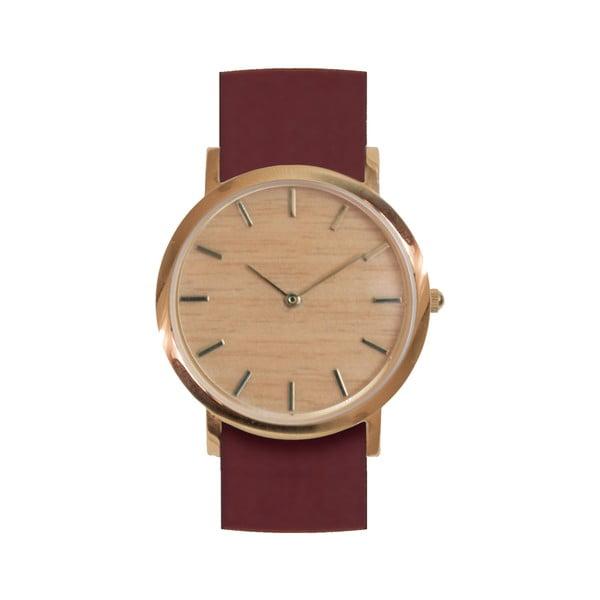 Drewniany zegarek z czerwonym paskiem Analog Watch Co. Classic