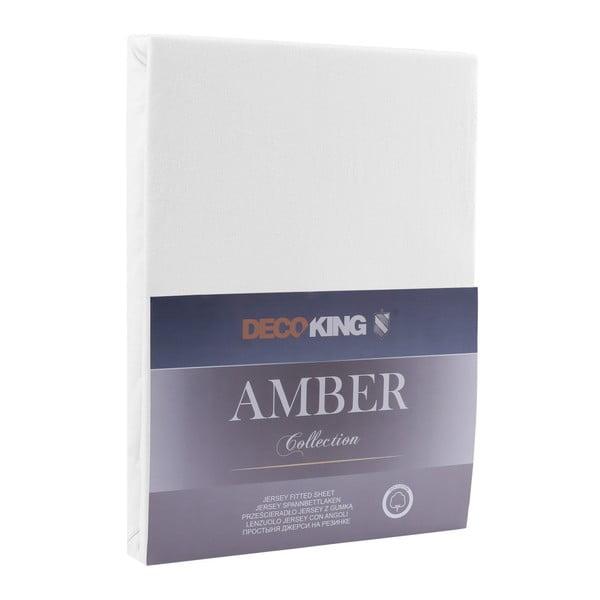 Białe prześcieradło elastyczne DecoKing Amber Collection, 80-90x200 cm