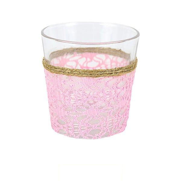 Szklany świecznik z ozdobną tkaniną Pink