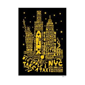 Plakat New York Black&Yellow, 50x70 cm