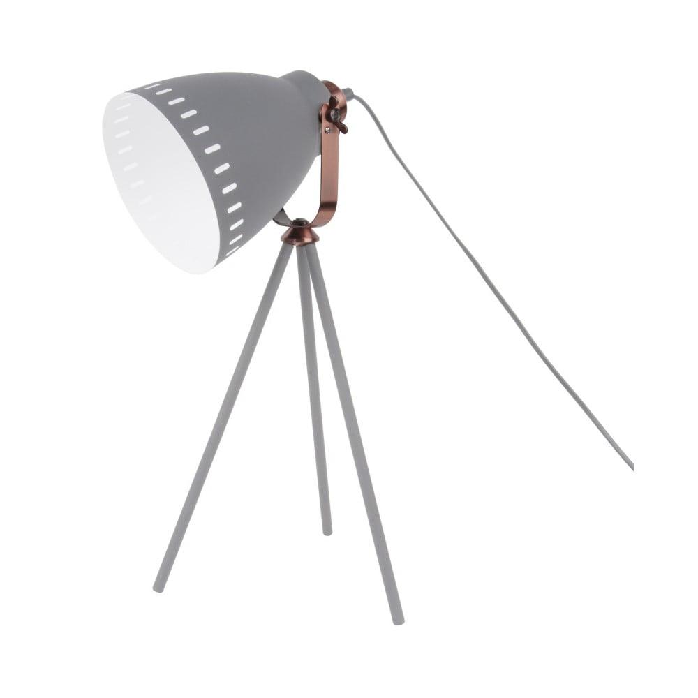 Szara lampa stołowa z elementami w kolorze miedzi Leitmotiv Mingle