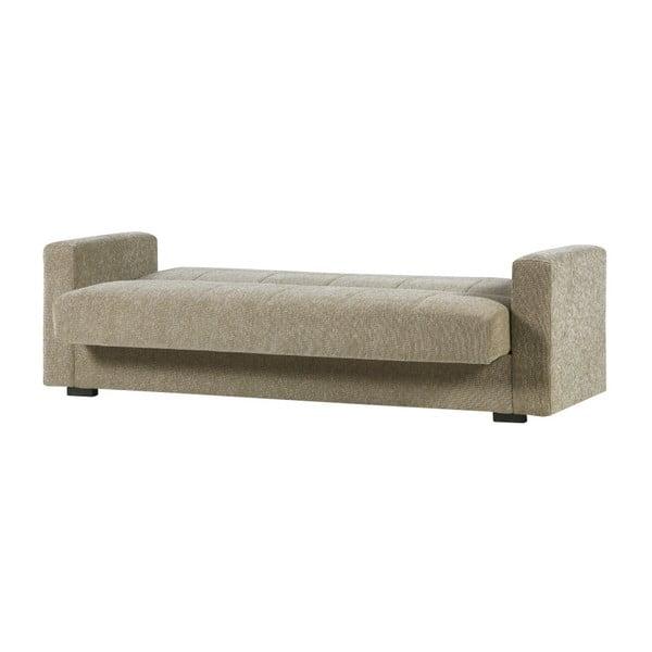 Beżowa dwuosobowa sofa rozkładana ze schowkiem Esidra Relax
