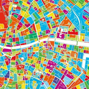 Obraz Homemania Maps Dublin, 60x60 cm