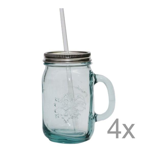 Zestaw 4 szklanek ze słomkami Jarra, 550 ml