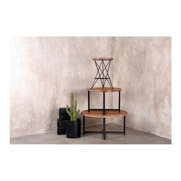 Czarny stolik z blatem z drewna mango LABEL51 Dex, ⌀ 60 cm