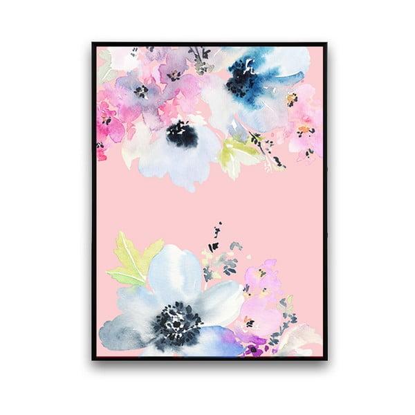 Plakat z niebieskimi kwiatami, różowe tło, 30 x 40 cm