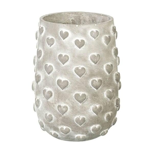 Doniczka Concrete Hearts, 23x17x17 cm
