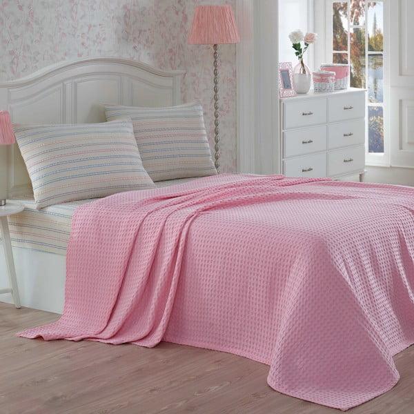 Narzuta z prześcieradłem i poszewką na poduszkę Gofre Pink, 200x230 cm