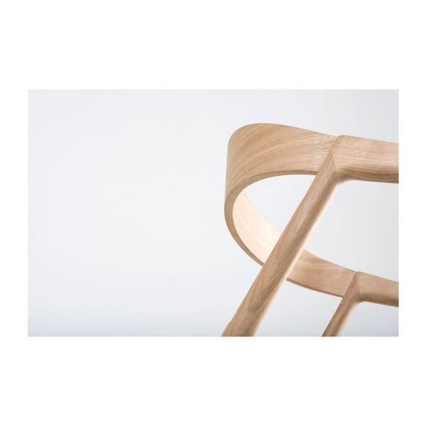 Krzesło z litego drewna dębowego z szarym siedziskiem Gazzda Muna
