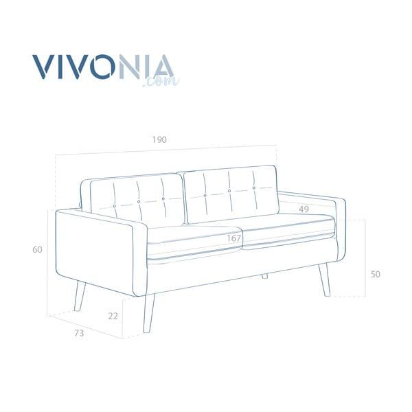 Jasnoszara sofa trzyosobowa VIVONITA Ina