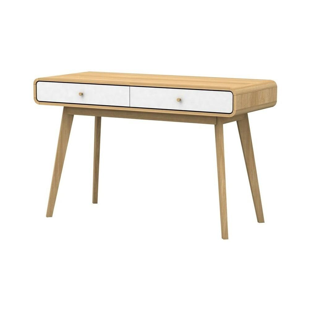 Biało-brązowe biurko z drewna Støraa Cleo