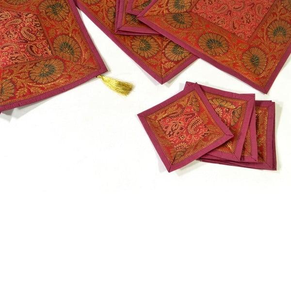 Brokatowe nakrycie na stół Paisley, czerwone