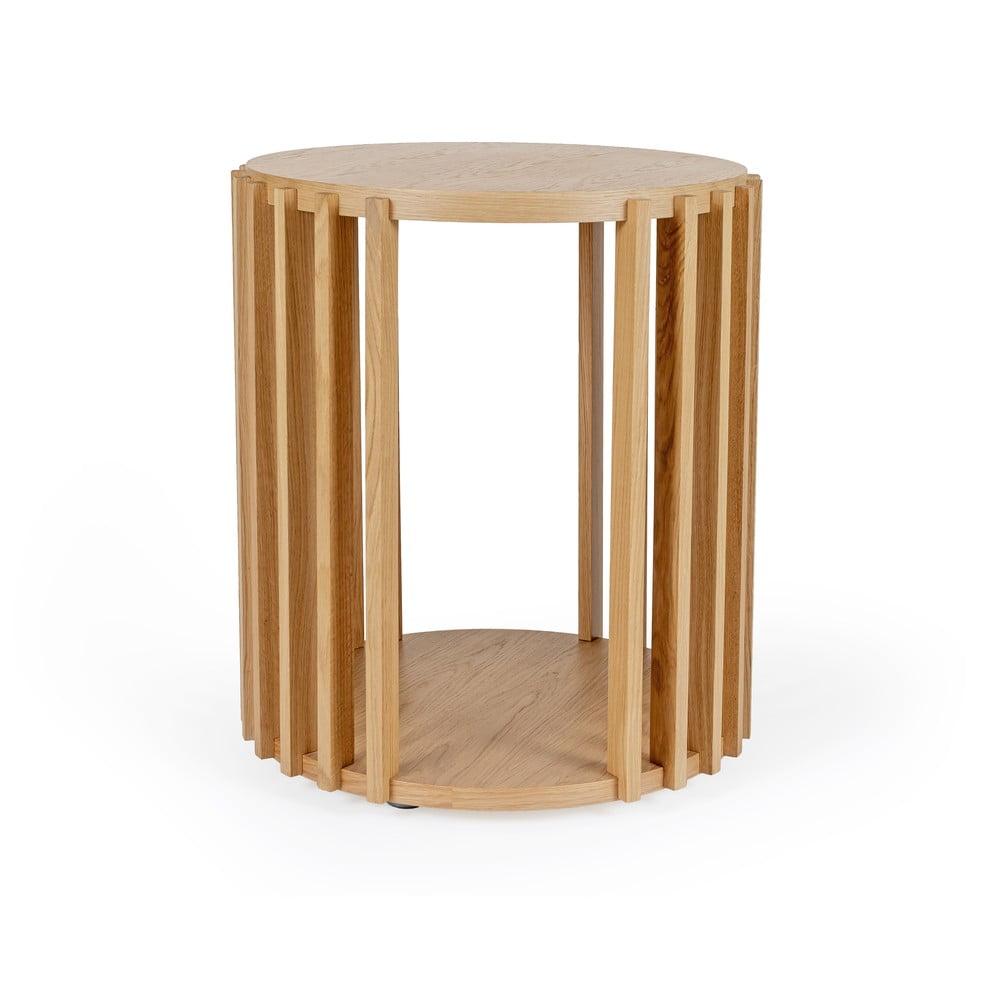 Stolik z drewna dębowego Woodman Drum, ø 53 cm