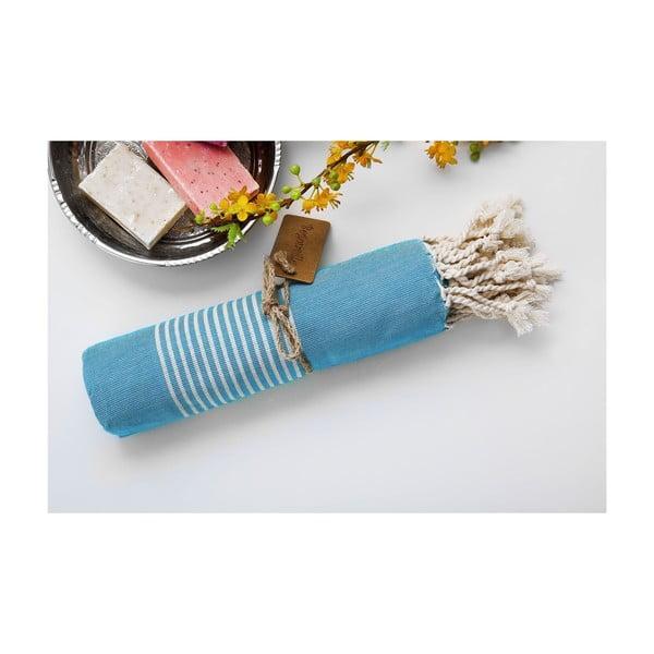 Ręcnzik hamam Line Turquoise, 100x180 cm