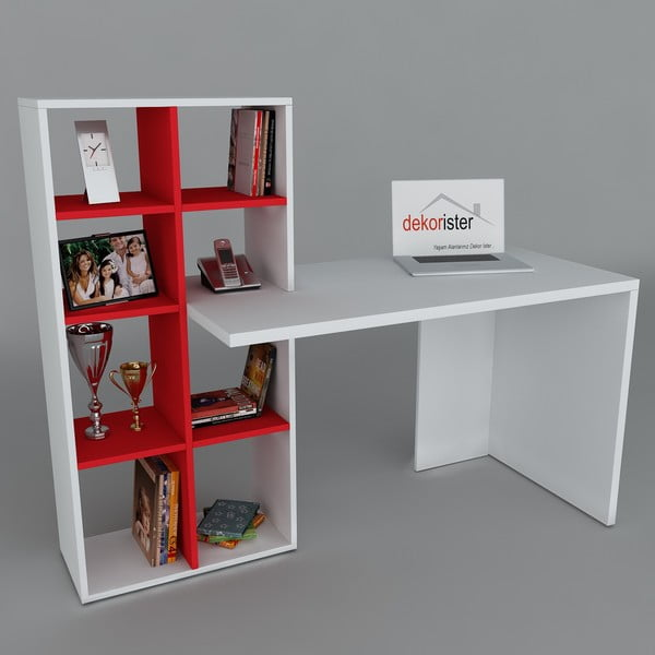 Biurko z biblioteczką Win White/Red, 60x151x123,6 cm