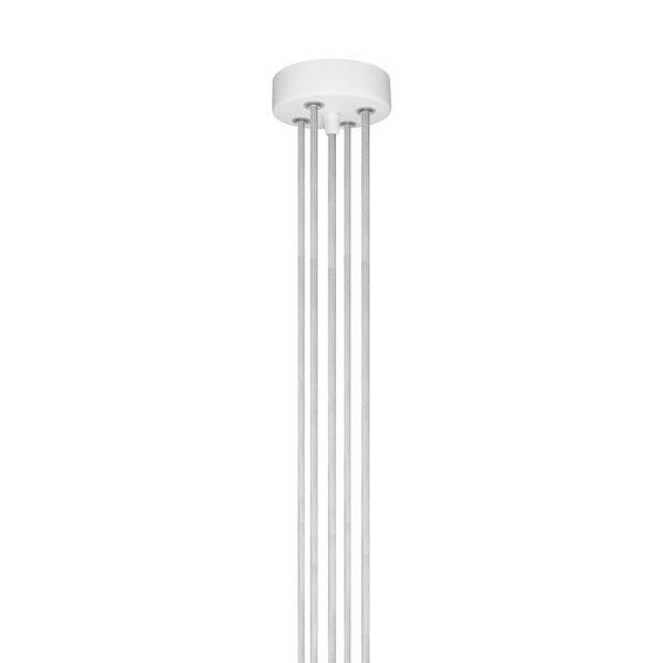 Biała pięcioramienna lampa wisząca ze złotą oprawką Bulb Attack Cero Group