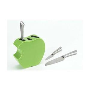 Zestaw noży ze stojakiem Green Apple, 3 sztuki