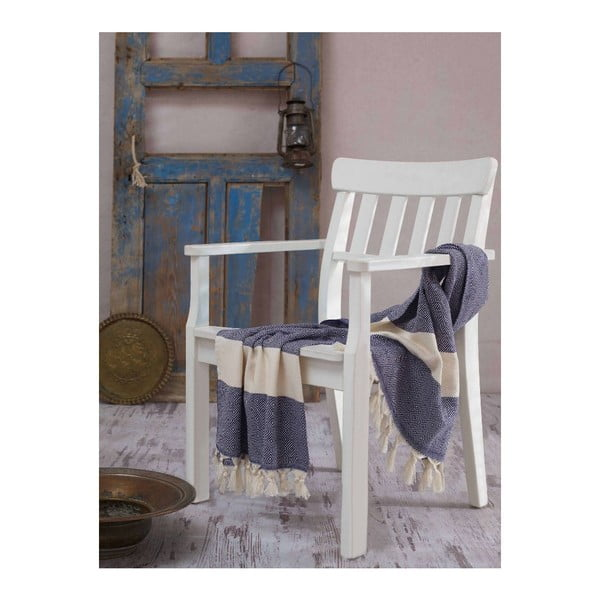 Ręcznik hammam Elmas Dark Blue, 100x180 cm