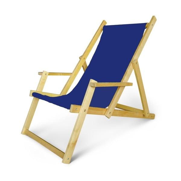 Regulowany leżak drewniany z podłokietnikami JustRest, niebieski