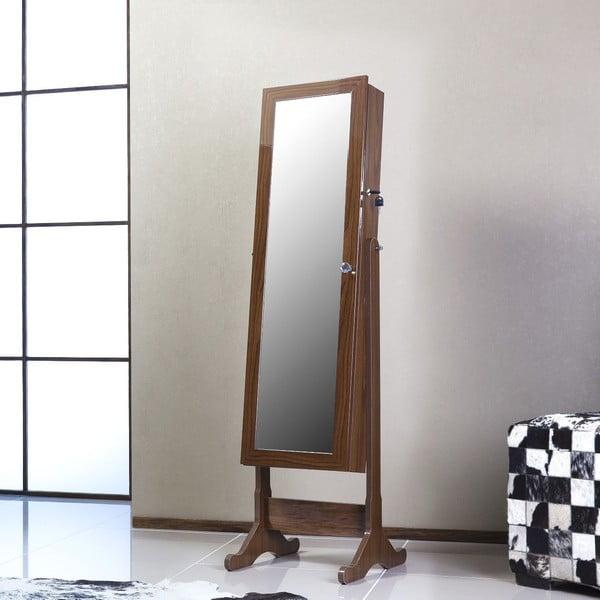 Zamykane lustro stojące ze schowkiem Juliette, brązowe