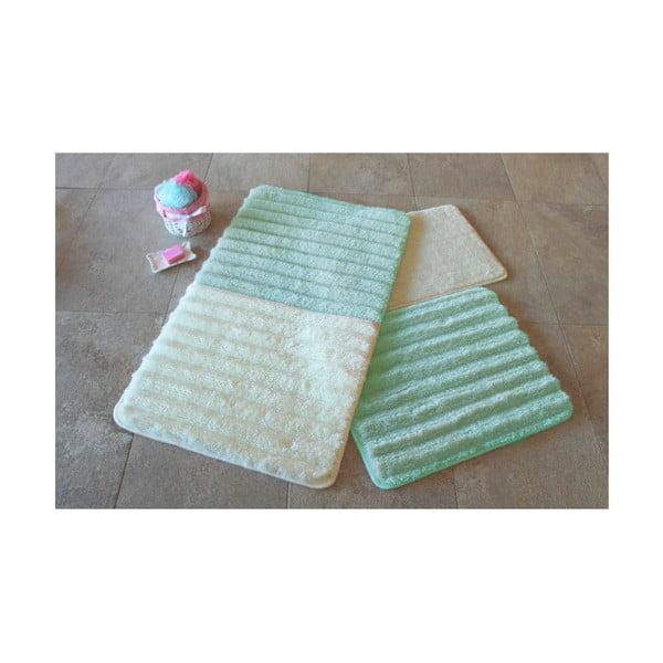 Zestaw 3 zielono-białych dywaników łazienkowych Confetti Bathmats