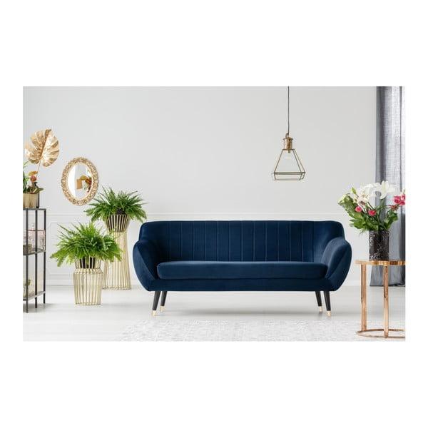 Granatowa sofa 3-osobowa z czarnymi nogami Mazzini Sofas Benito