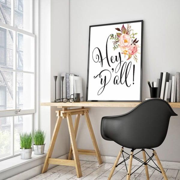 Plakat w drewnianej ramie Hey, 38x28 cm