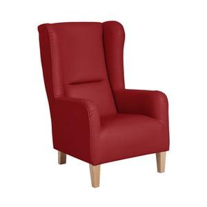 Czerwony fotel ze skóry ekologicznej Max Winzer Bruno