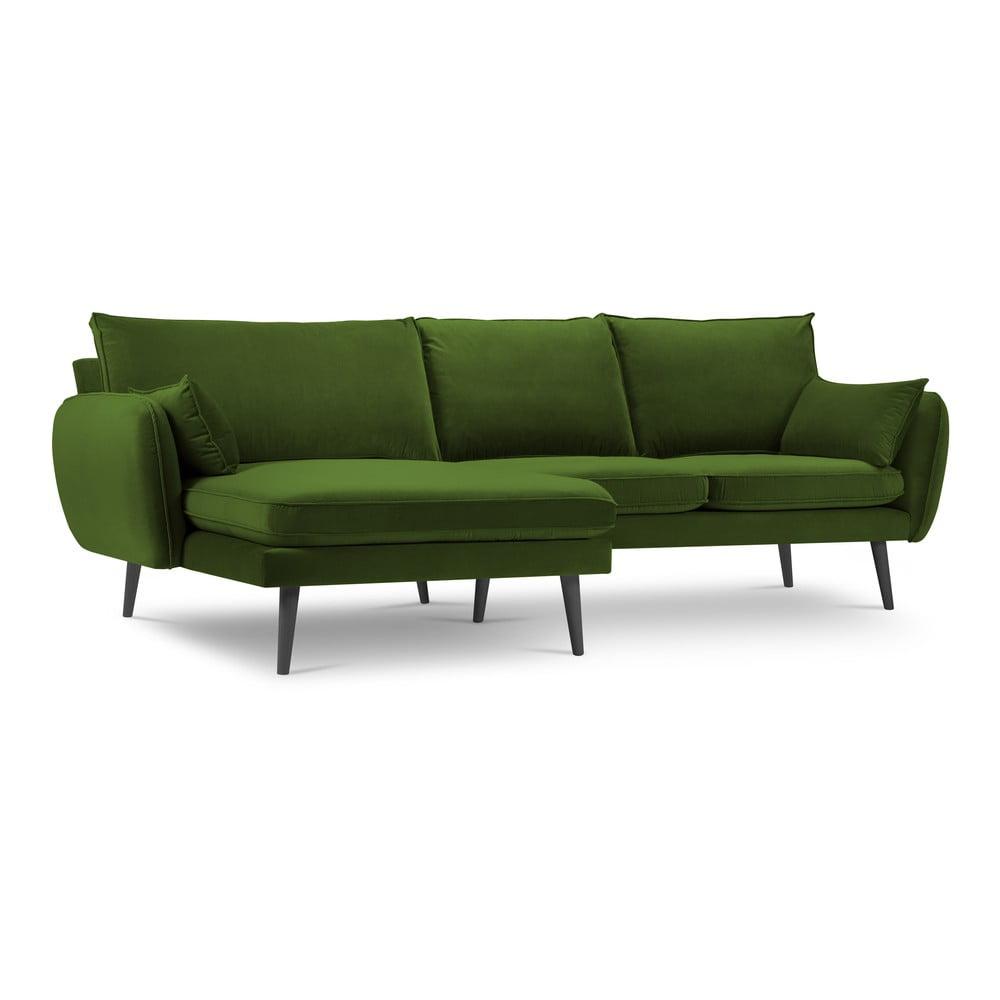 Zielona aksamitna narożna sofa Kooko Home Lento, lewostronny