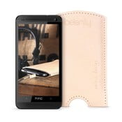 Skórzane etui na HTC One M7 Cream