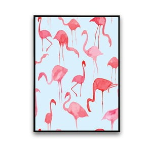 Plakat z flamingami, niebieskie tło, 30 x 40 cm