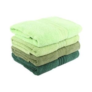 Zestaw 4 zielonych ręczników bawełnianych Rainbow Garden, 50x90 cm