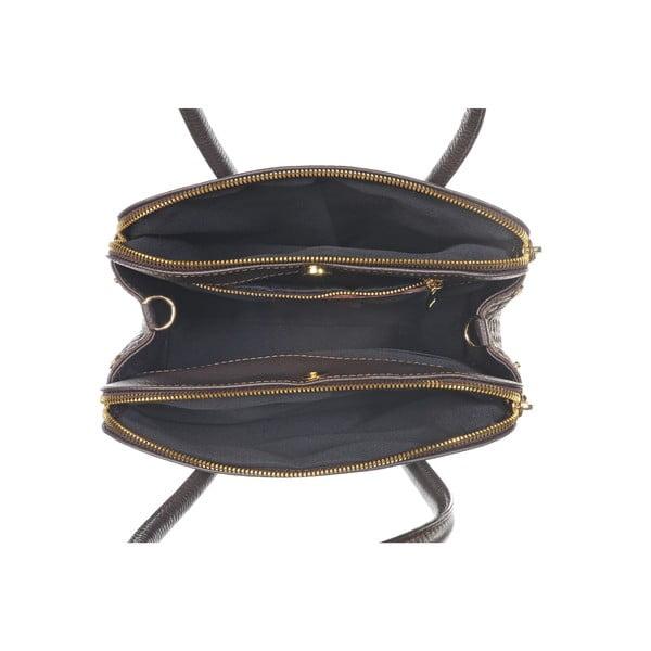 Skórzana torebka Twist Dark Brown