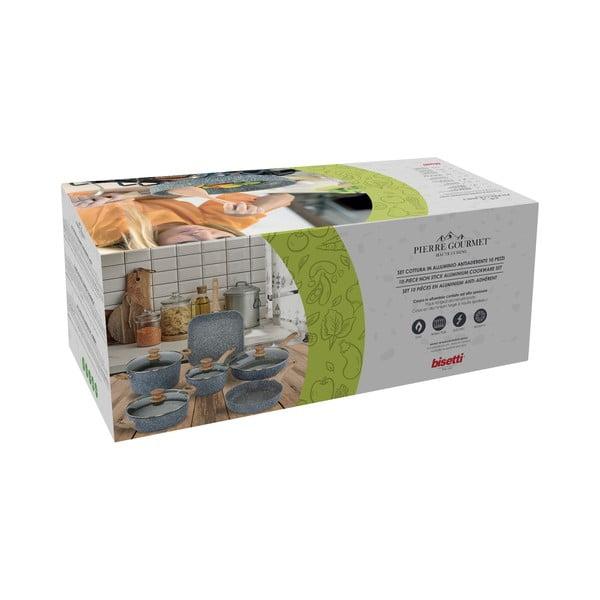 6-częściowy zestaw naczyń z pokrywkami i uchwytami imitującymi drewno Bisetti Pierre Gourmet Camilla