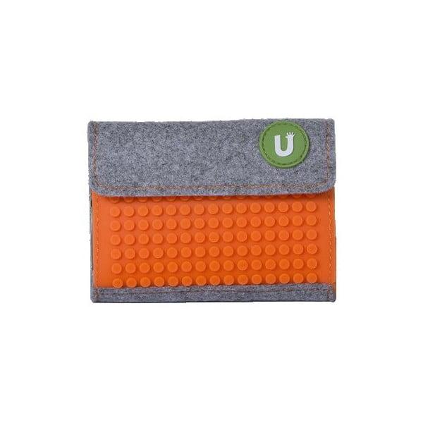 Pikselowy portfel, szary/pomarańczowy