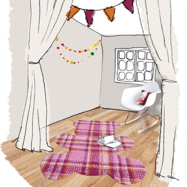 Różowy dywan dziecięcy Teddy Tartan, 100x120 cm