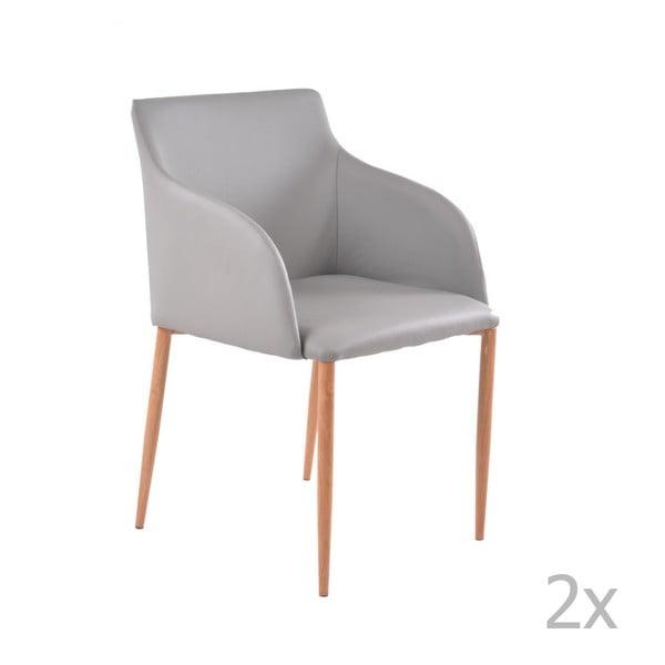 Zestaw 2 szarych krzeseł z jasnymi nogami 13Casa Lady