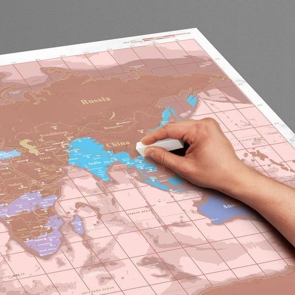 Mapa/zdrapka świata w kolorze różowego złota Luckies of London Millenial