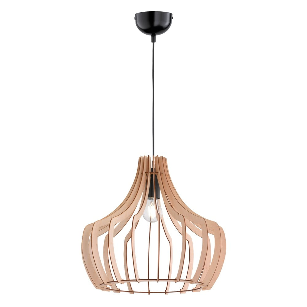 Jasnobrązowa lampa wisząca z drewna i metalu Trio Wood, wys. 150 cm
