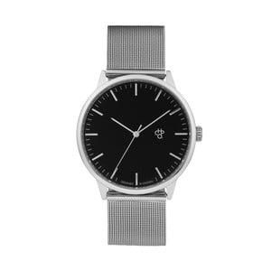 Zegarek ze srebrnym paskiem i czarnym cyferblatem CHPO Nando