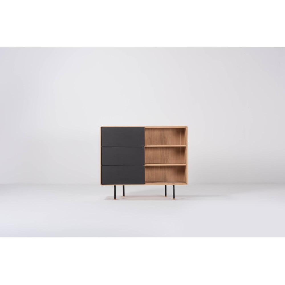 Czarna szafka z drewna dębowego z szufladami Gazzda Fina