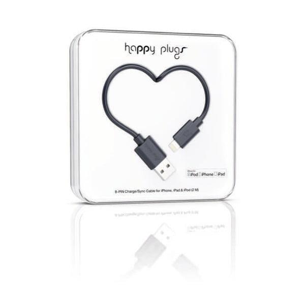 Kabel do ładowania i transmisji danych Happy Plugs 2 m, czarny